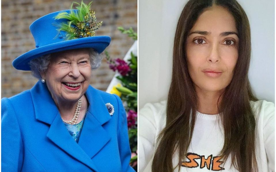 Salma Hayek es más rica ¡que la Reina Isabel! (Foto: Instagram @salmahayek/theroyalfamily)