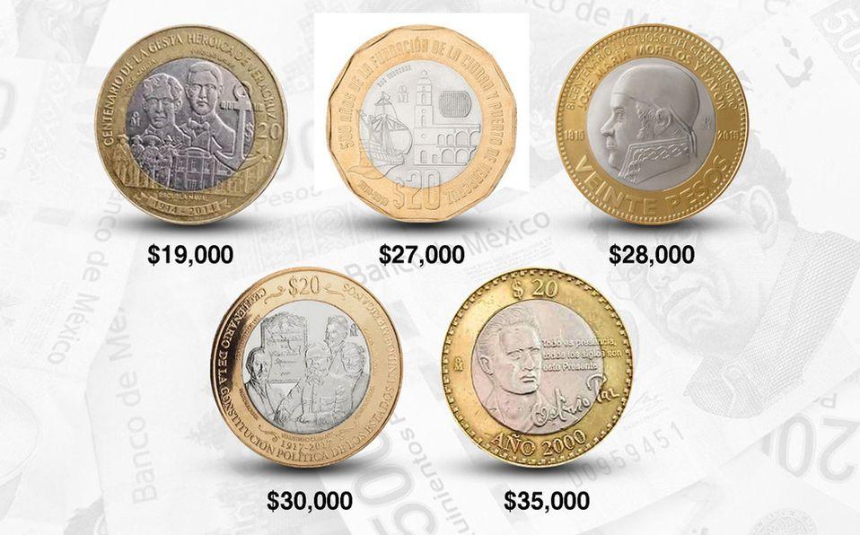 Conoce estas 5 monedas de 20 pesos que te harán ganar miles (Foto: Cortesía)