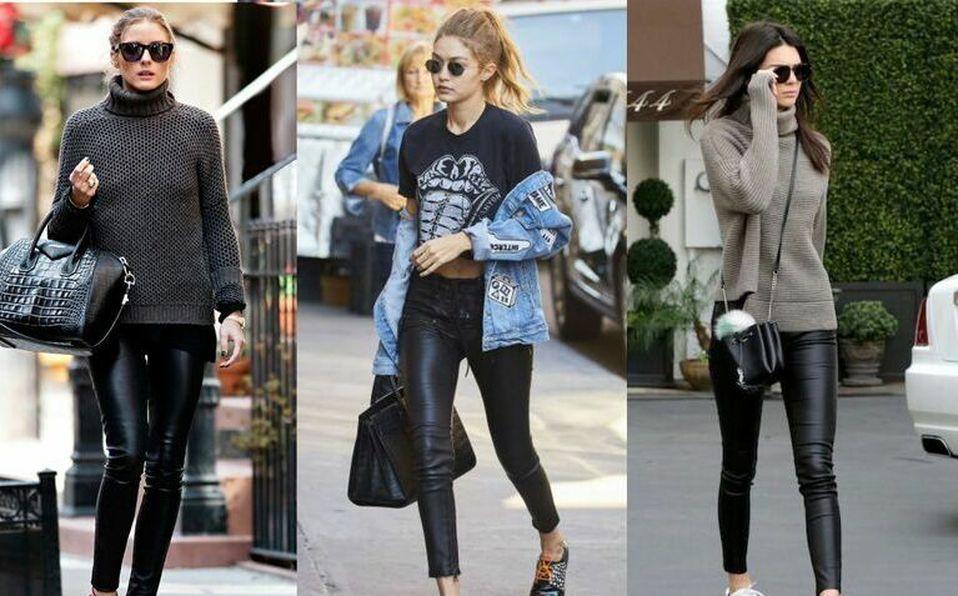 Las celebridades muestran cómo usar los leggins de cuero, una de las tendencias de la temporada.